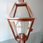 1024 Post Light (Shown in clear glass, glass cylinder chimney)