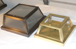 C001 (right, in Brass) and C002 (left) Ceiling Lights