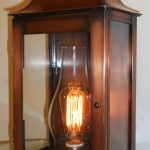 G57 MW  (Shown in Antique Copper, clear hurricane chimney and Edison Bulb)