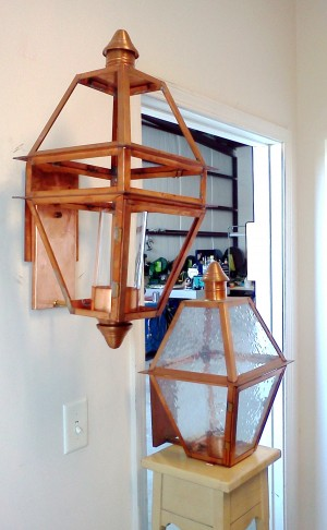1026 Wall Light (Left, Post and hanging available) and 1028 in Seedy Glass